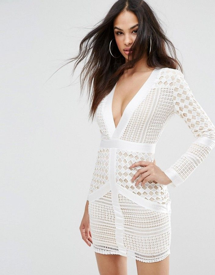 Missguided Lace Plunge Body-Conscious Dress  3034cc07a9d1e