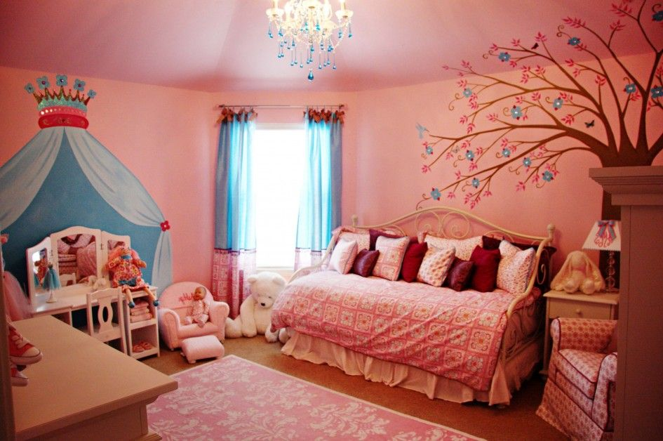 Great Kids Bedroom, Fashionable Tree Cartoons Of Girls Bedroom With Cute Pink Bed  And Chic White
