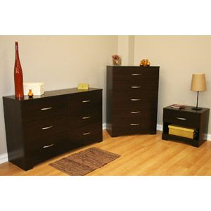 South Shore Soho 3 Piece Dresser And Nightstand Set Chocolate