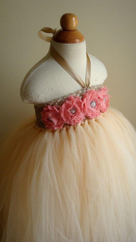 Flower girl dress champagne coral tutu by Theprincessandthebou. , via Etsy.  Audrey's dress...cream and plum :)