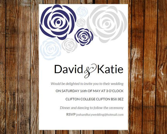 Wedding invitation template - Rose bouquet (blue and grey - microsoft invitation templates