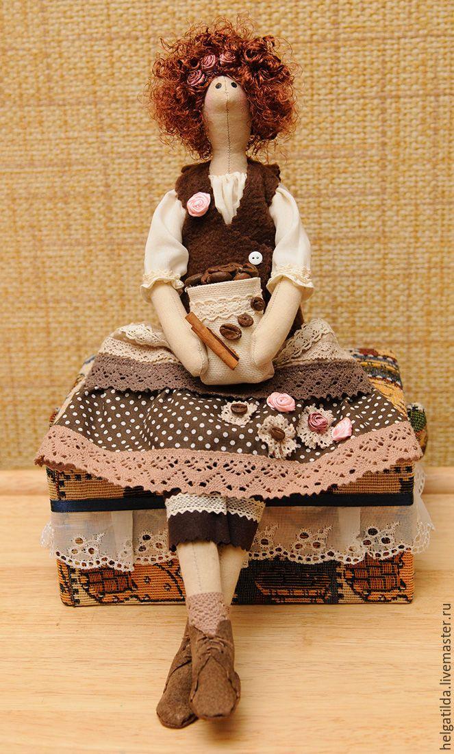 Купить Кофейная фея, тильда - коричневый, подарок, подарок девушке, подарок на день рождения