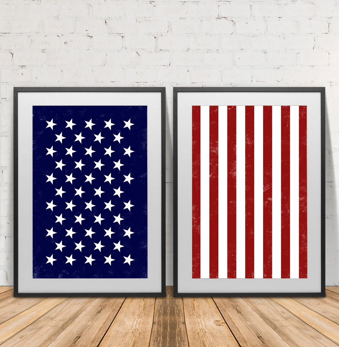 American Flag Stars And Stripes God Bless America Poster Etsy Scandinavian Wall Art American Flag Wall Art Prints