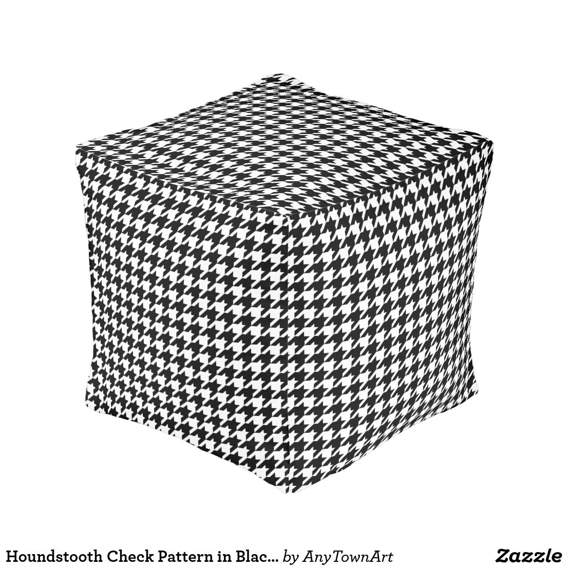 Houndstooth Check Pattern in Black and White Pouf Zazzle