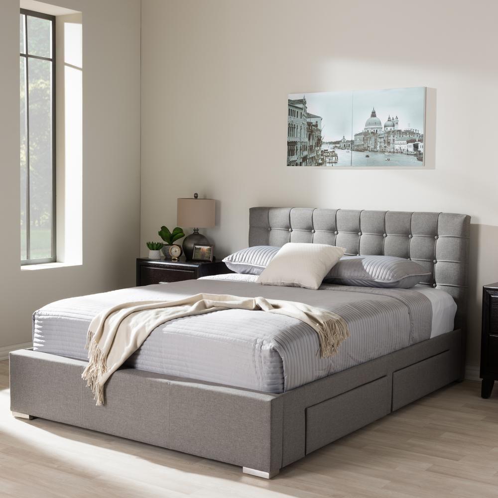 Best Baxton Studio Rene Gray Queen Upholstered Bed 400 x 300