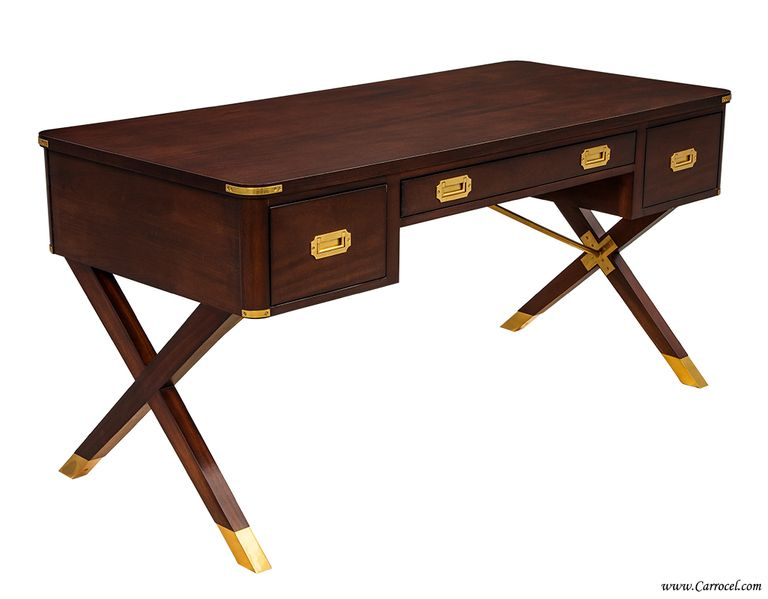 1stdibs Asheworth Campaign Desk By Hickory Chair Walnut With X Legs Made In Usa