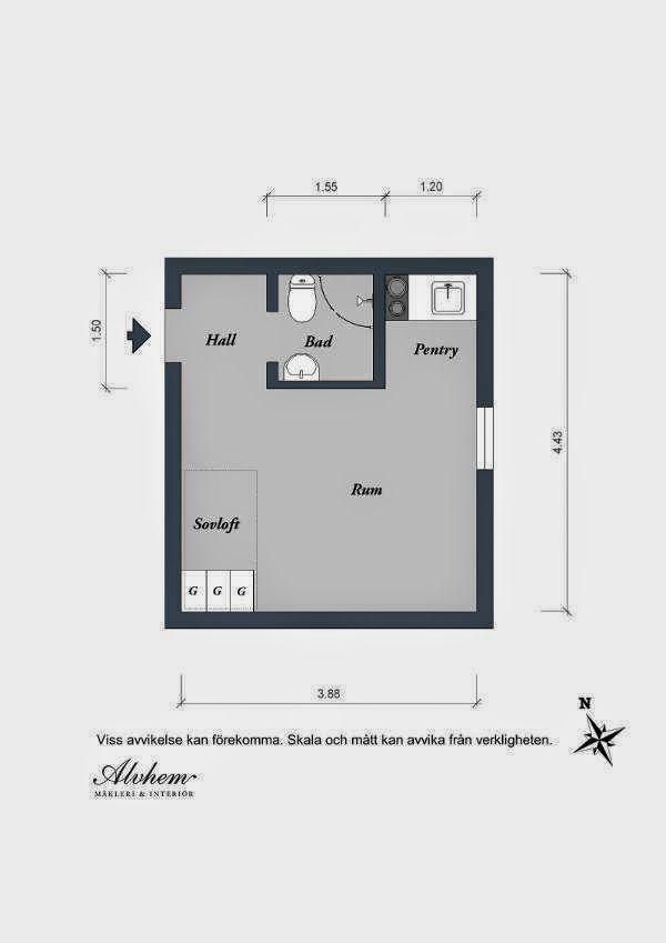 Incre ble distribuci n en minipiso de 17 m2 cuartos for Distribucion apartamentos pequenos