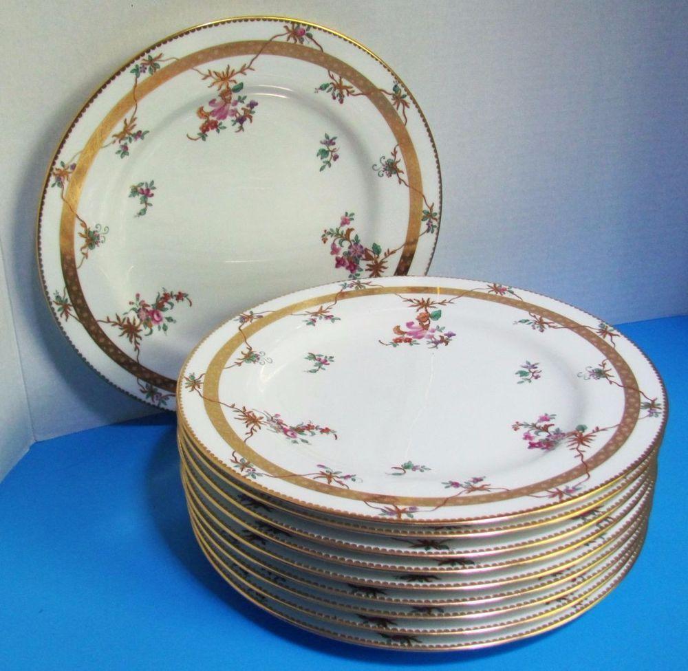 c.1825 Set of 12 SPODE BOTANICAL PLATES Felspar Porcelain Early ...