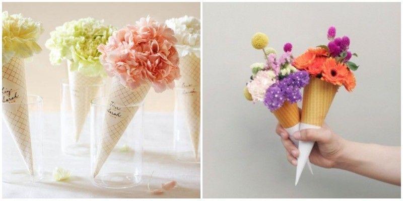 Ramos de flores y centros de mesa con conos de helados - Decoracion de helados ...