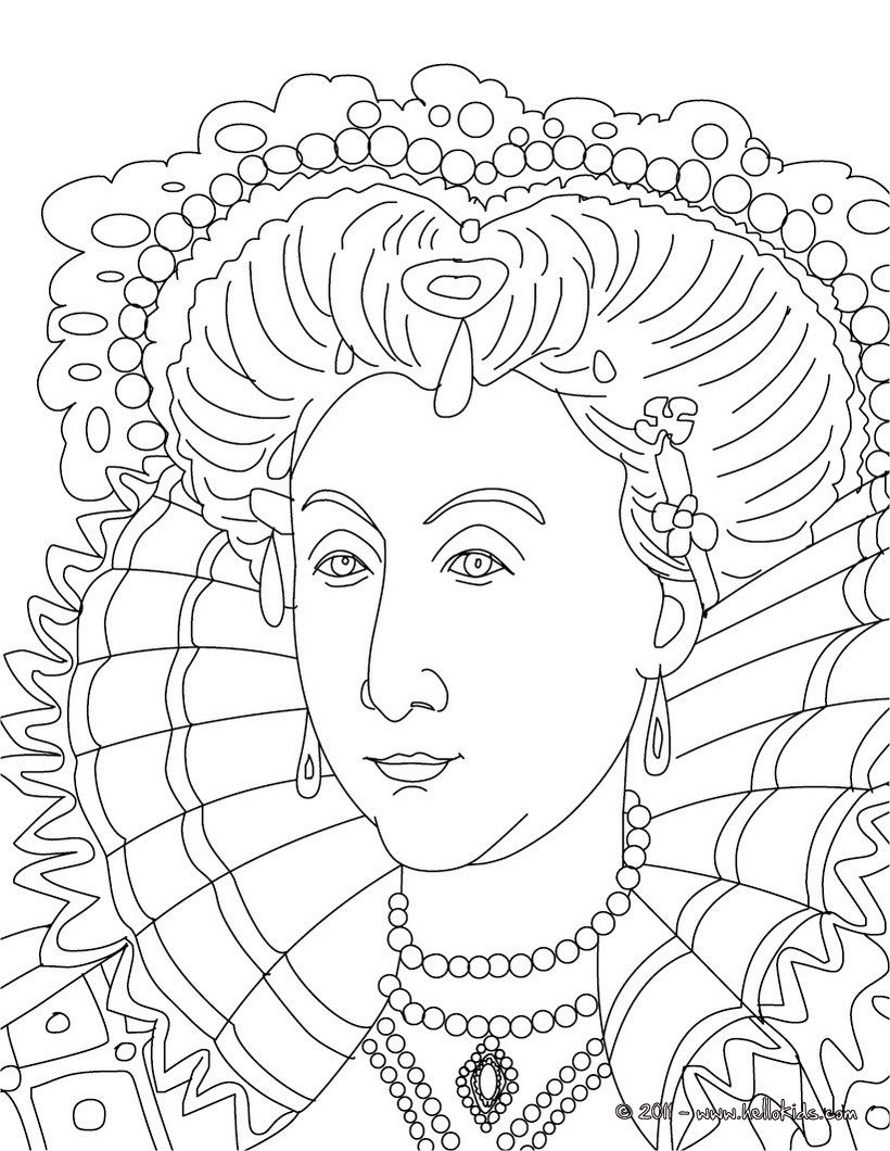 QUEEN ELIZABETH I coloring page | AAA Color Your World | Pinterest