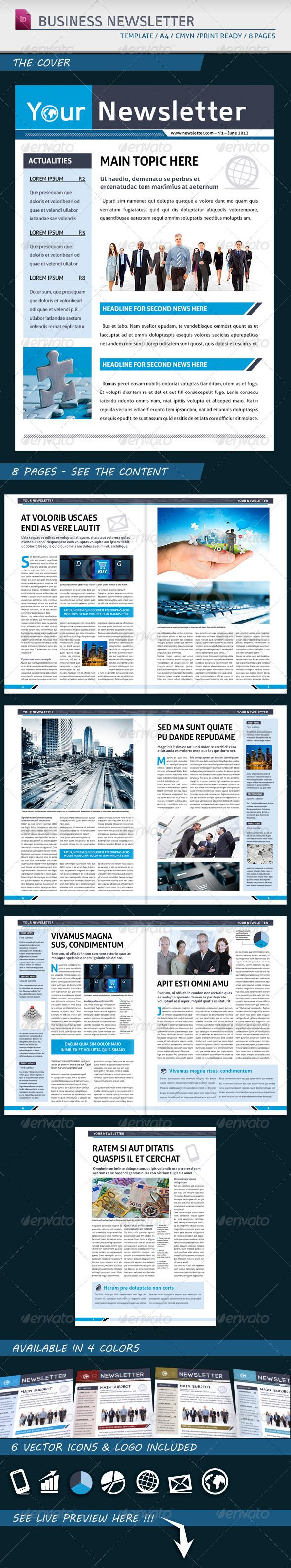 Modern business newsletter template a4 newsletter for Modern newsletter design