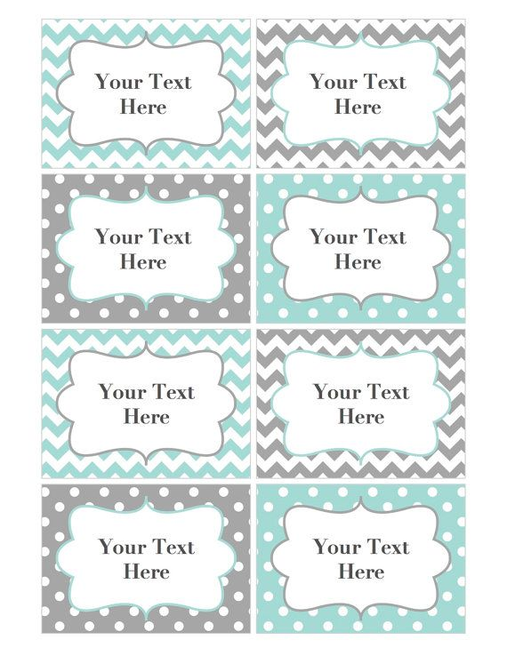 Perfect Name Tags Editable Labels Cards JPG File Printable Baby Shower Name Tags  Digital Collage Sheet Light Teal Grey INSTANT DOWNLOAD 002