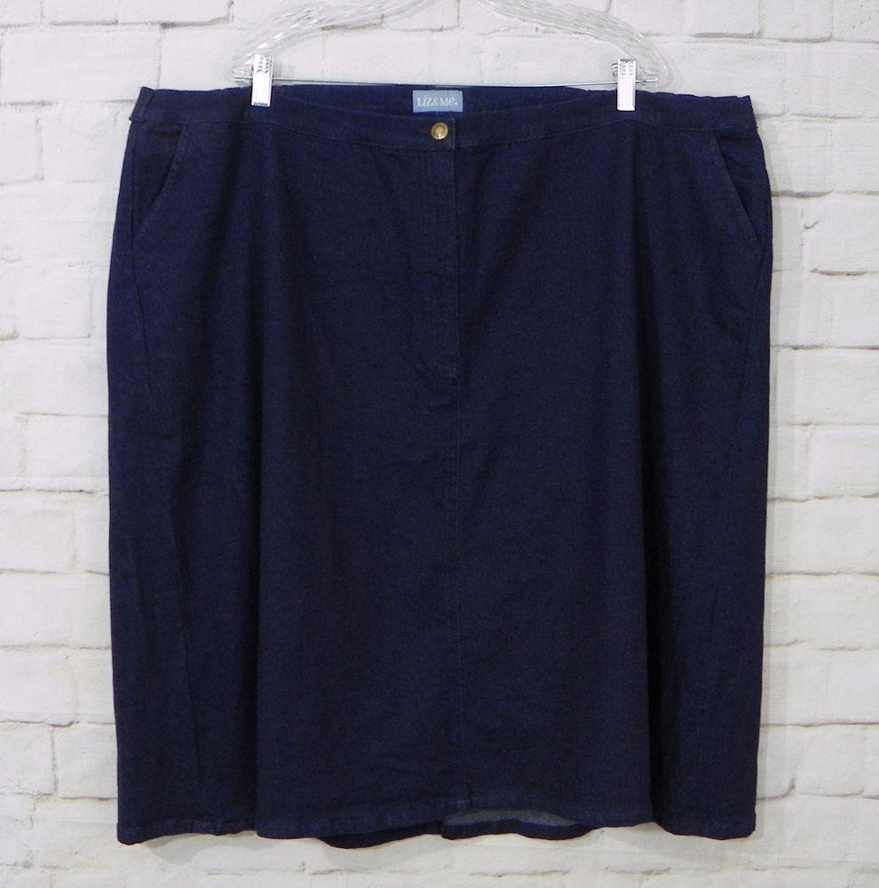 Womens Plus LIZ & ME Dark Wash Denim Elastic Back Waist Blue Jean Skirt Size 32W #LizMe #ALine