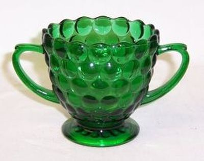 Anchor Hocking Fire King Green BUBBLE Sugar by StraitsAntiques
