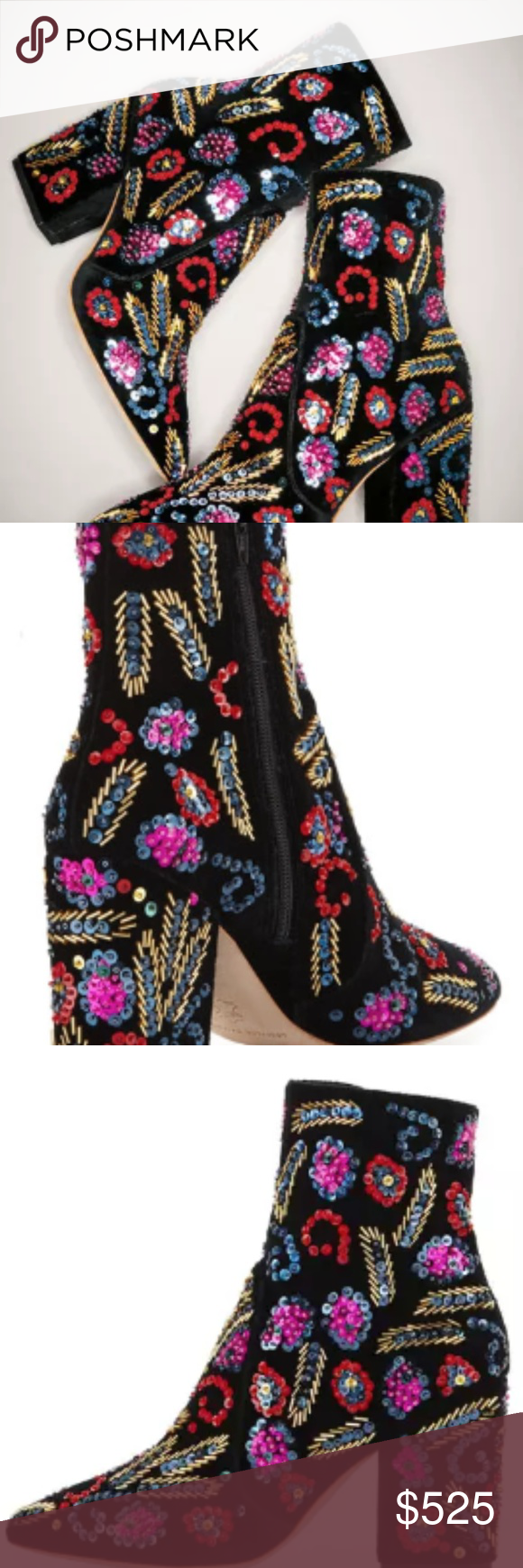 d808d751842f Isla Sequin-Embroidered Block-Heel New Loeffler Randall velvet ankle boot  with paisley sequin embroidery 2.5