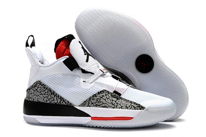 Mens Air Jordan 33 White Cement Elephant Print Basketball Shoes in ... 4c207e17fe26
