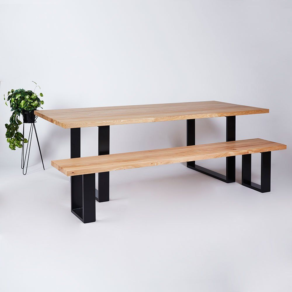 Timber Top Apartments: The Pyrmont Dining Table- Elm Timber Top On Black Steel