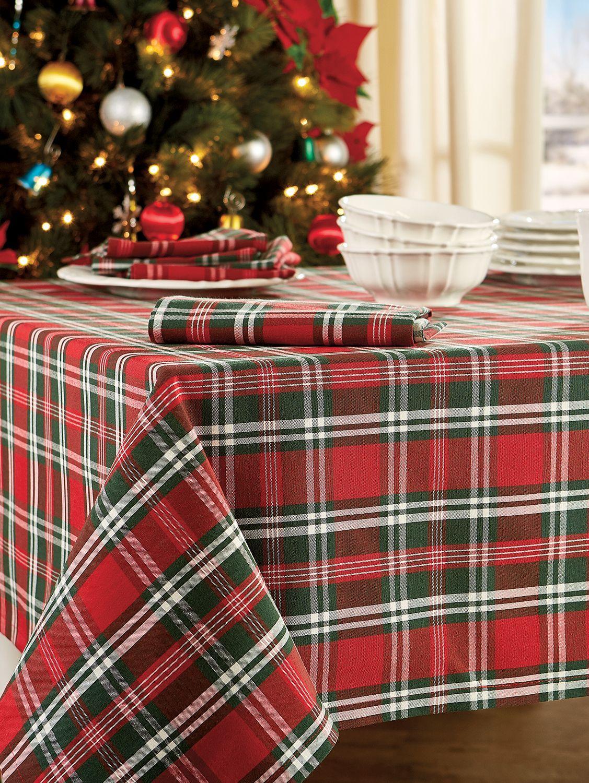 Christmas Plaid Tablecloth Christmas Table Cloth Holiday Table Linens Christmas Table Linen