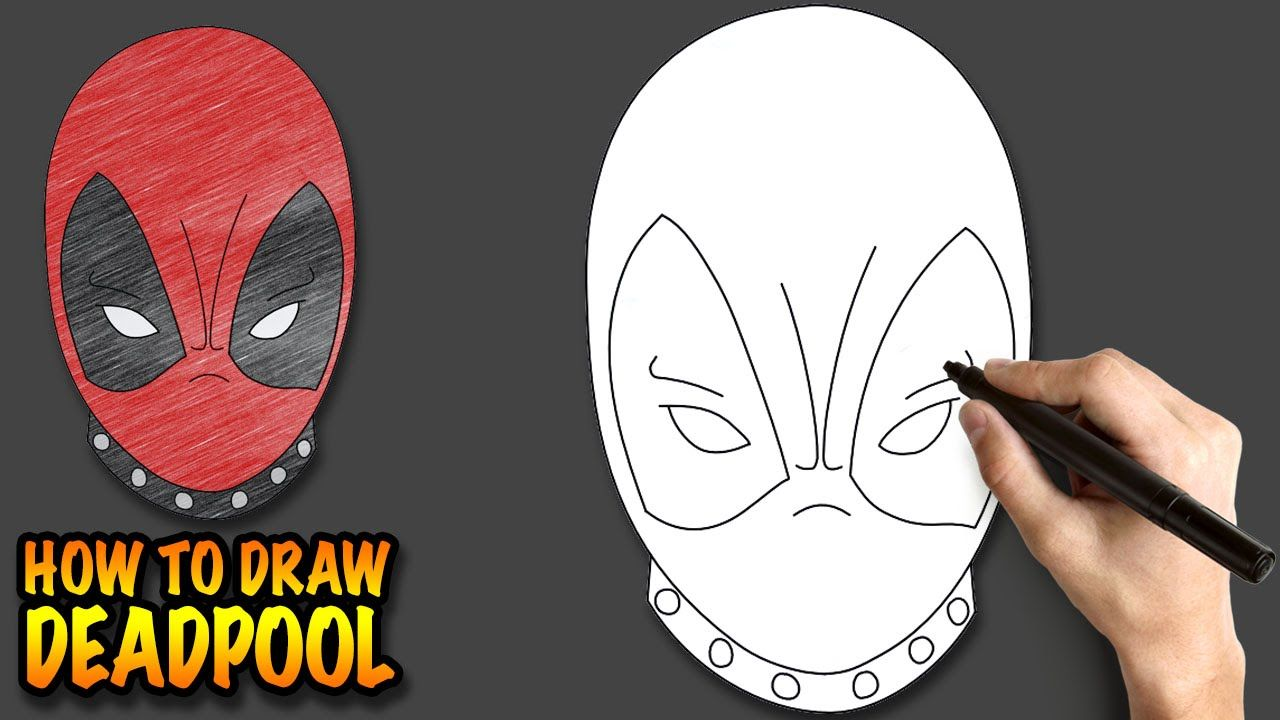 How to draw Deadpool - Easy step-by-step drawing lessons for kids ...