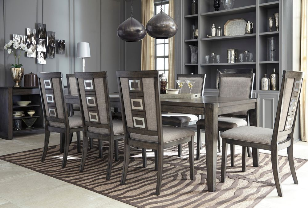 Ashley Furniture Chadoni 9 Piece Smokey Grey Dining Room Set D624