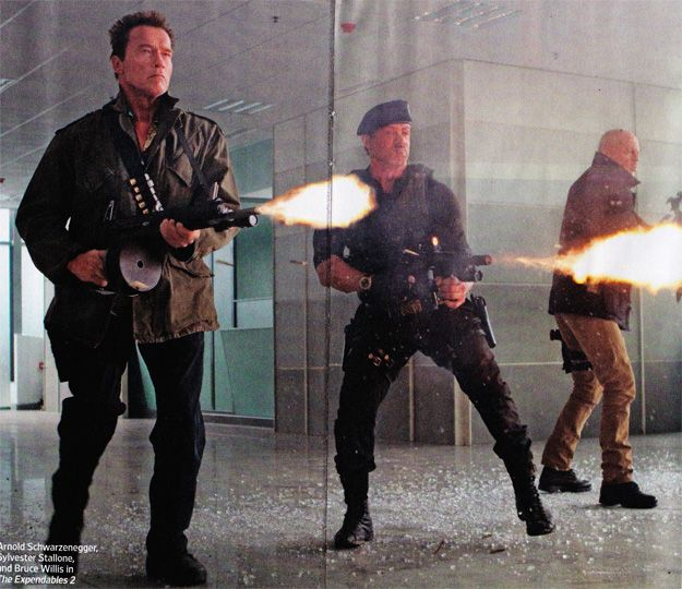 #Schwarzenegger #Sly and #BruceWillis shooting together for first time in The Expendables 2 #TheExpendables2