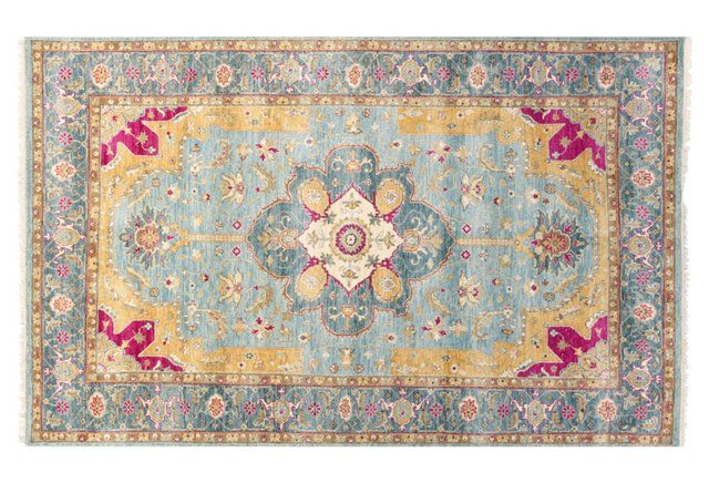 """5'2""""x8'2"""" Adele Hand-Knotted Rug, Teal"""