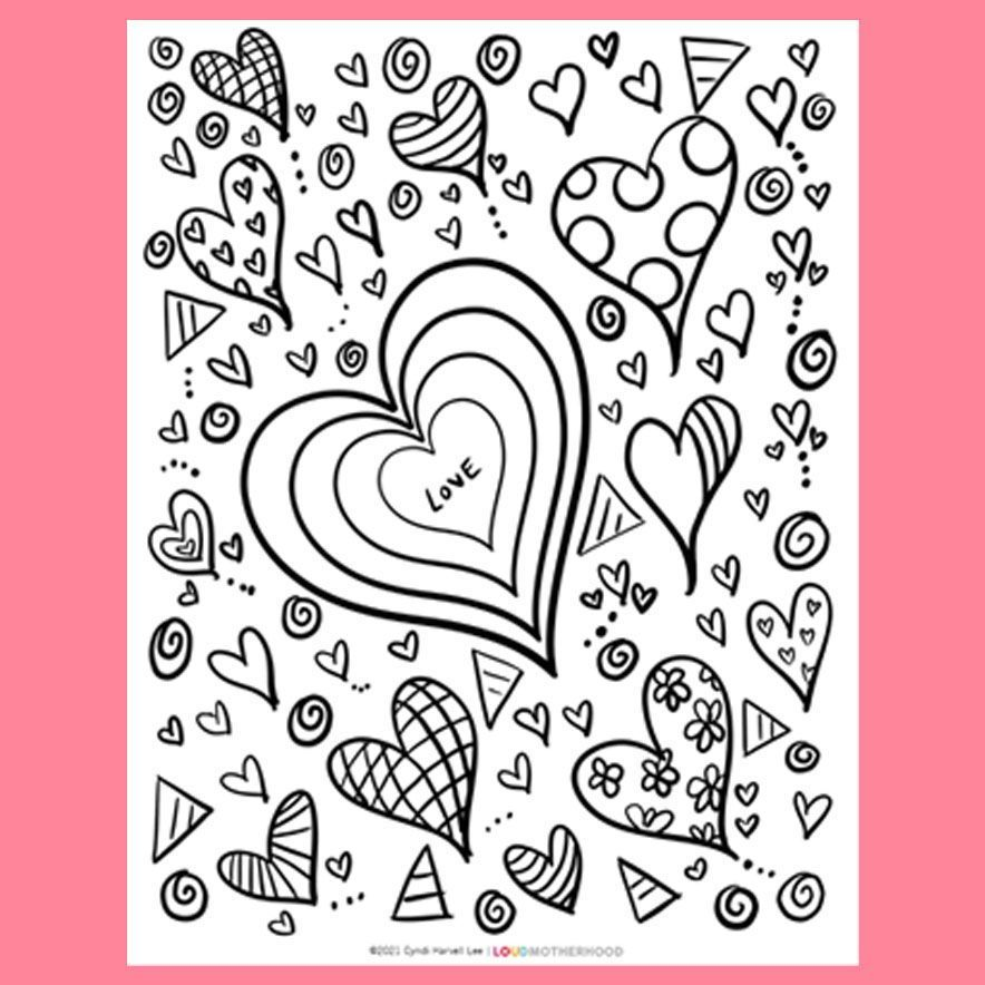 Valentine S Day Coloring Pages For Kids Printables For Etsy In 2021 Heart Coloring Pages Valentines Day Coloring Coloring Pages For Kids