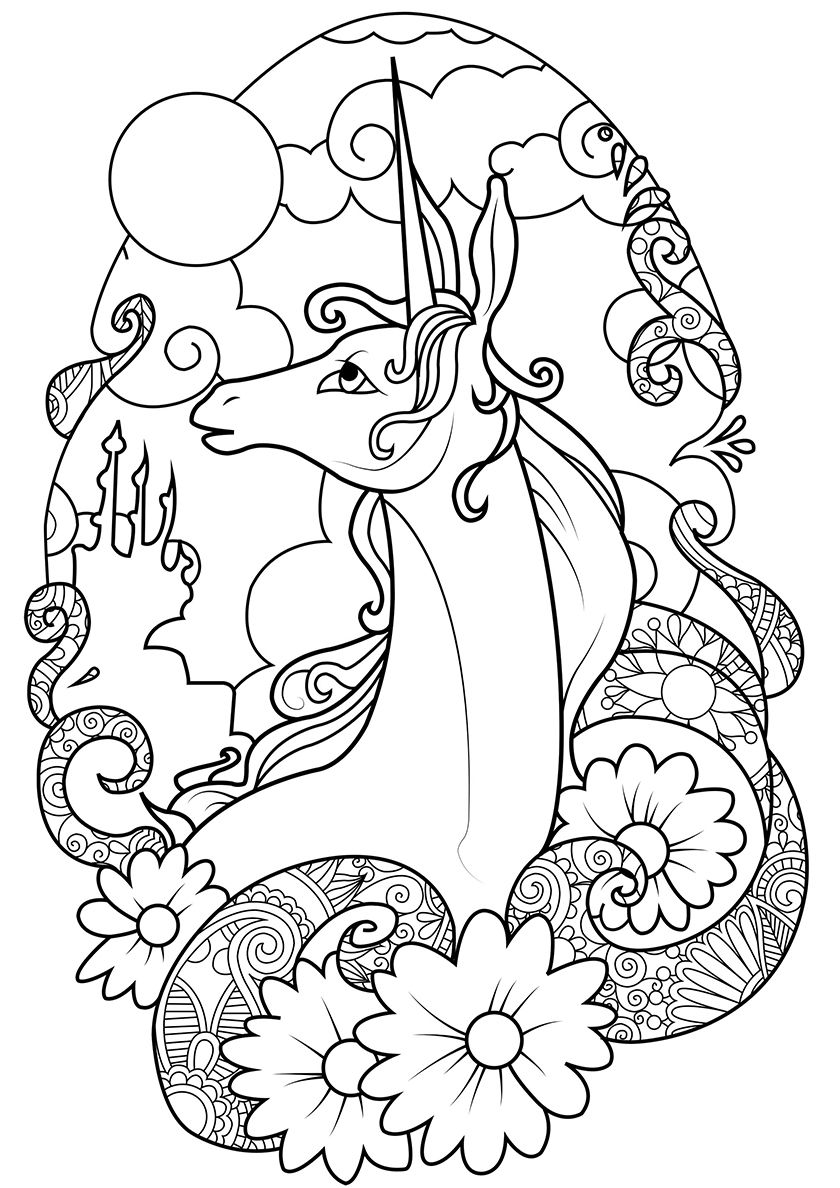 Fairy Tale Land High Quality Free Coloring From The Category Unicorn More Printable Pic Unicorn Coloring Pages Dragon Coloring Page Detailed Coloring Pages
