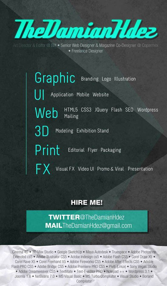 Creative Resume Designs that will make you rethink your CV - 3d artist resume