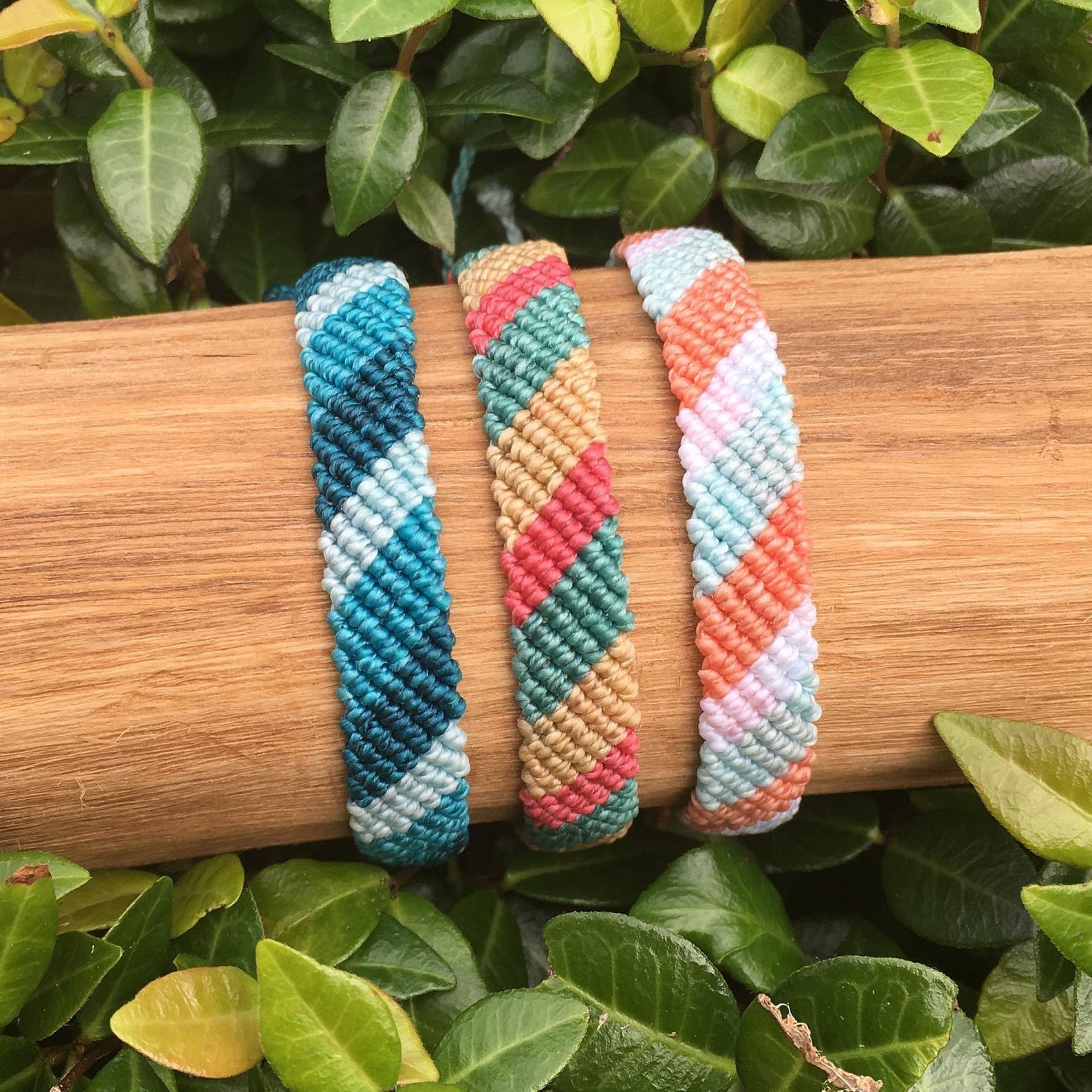 Color Block Wide Flat Braid Bracelet or Anklet // Waterproof Adjustable Beach Surfer VSCO Festival Parade Nature Summer Colorful Boho