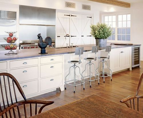 Love this kitchen layout with the long, eat-in island Tebbut