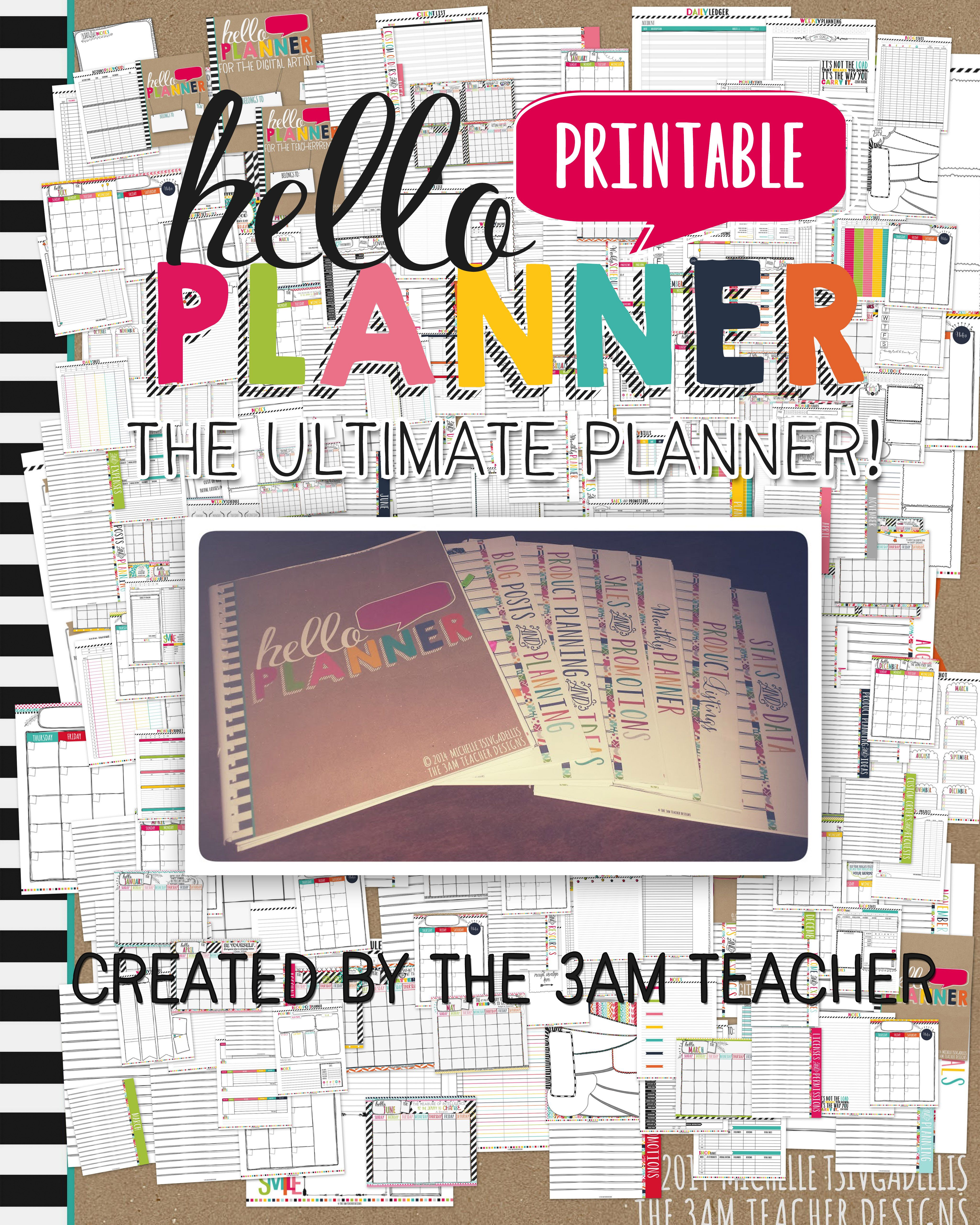 H-E-L-L-O Planner!! The ultimate business planner for those selling digital products online. Over 200 pages with a unique illustrated design by The 3AM Teacher!! 50% off for a limited time!!