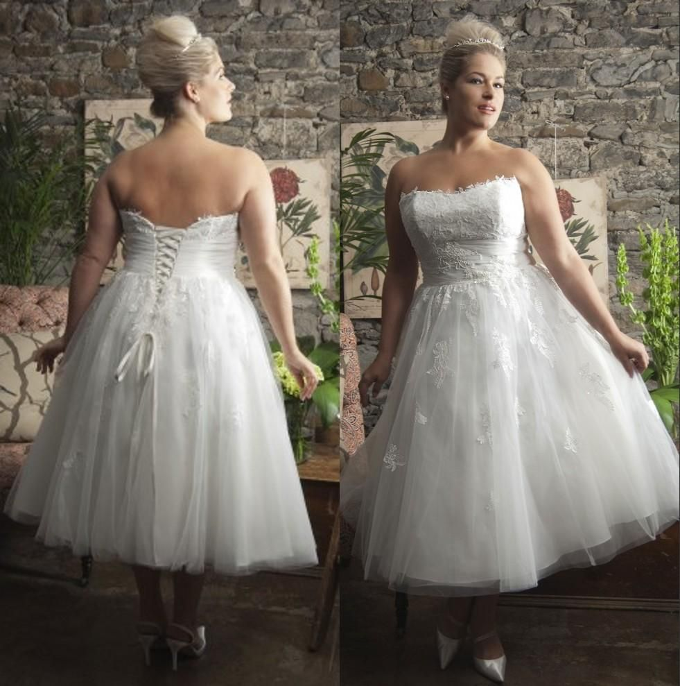 Short Tea Length Plus Size Wedding Dresses Corset Back Strapless ...
