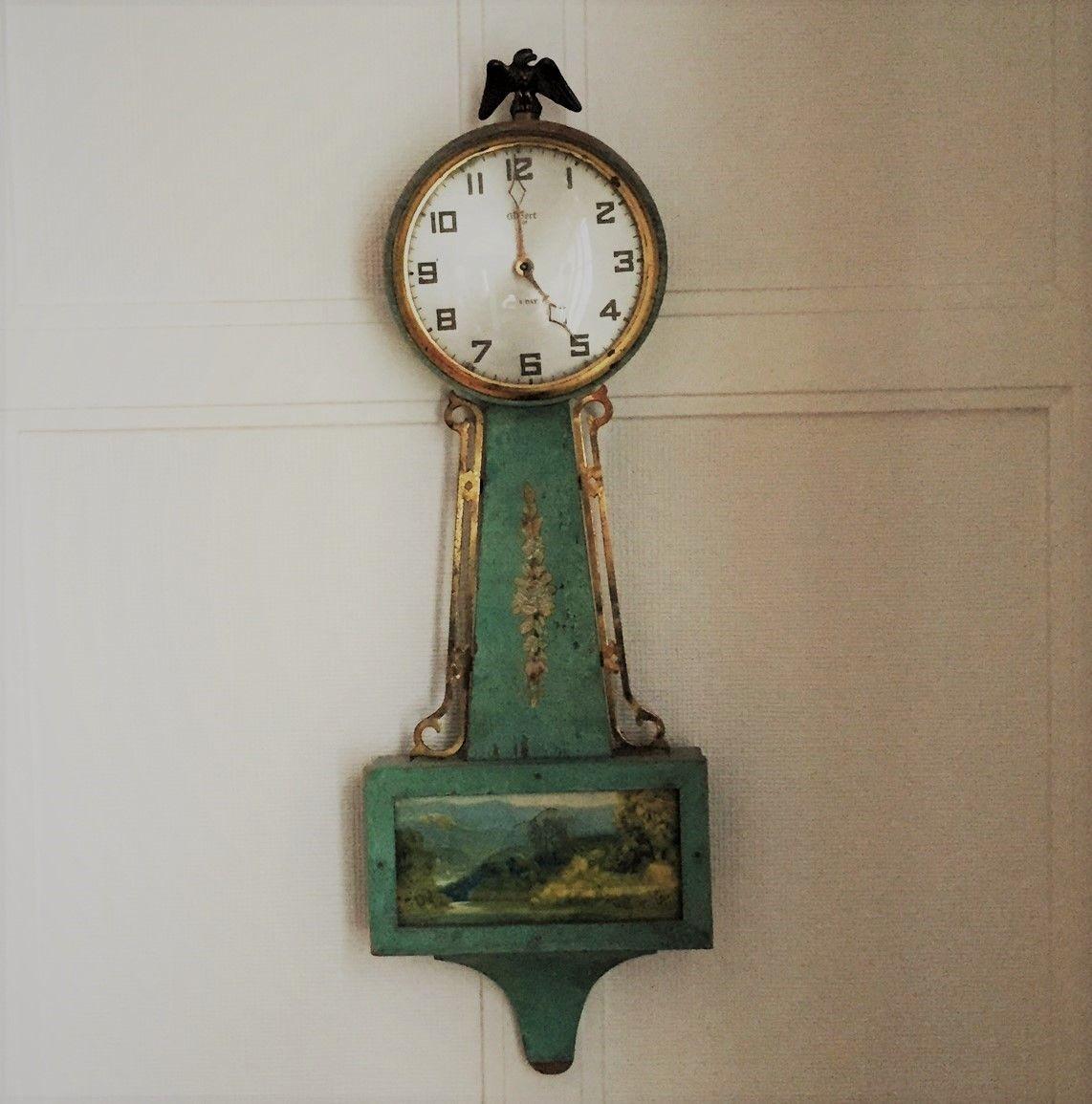 Antique Hand Painted Gilbert Banjo Clock Antiques Clock Antique Wall Clock