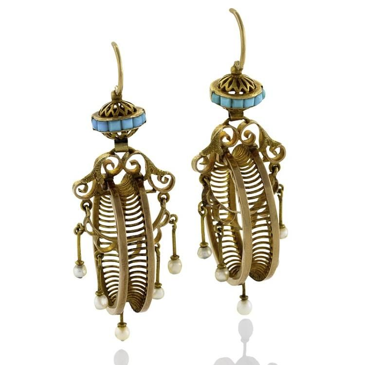 A pair of French Antique 18 karat gold ear pendants with turquoise stones and…