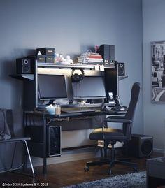 Ikea Fredde Home Office Setup Room Setup Game Room Design