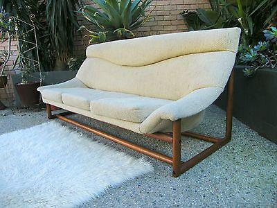 1960s Blackwood Cream Fabric 3 Seater Sofa Sled Danish Deluxe Retro Vintage Danish Furniture Design Mid Century Danish Furniture Sofa