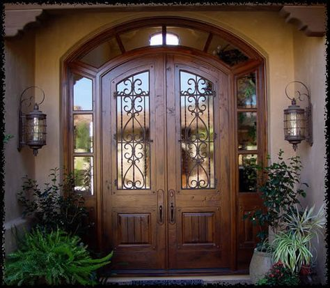 Classy Custom Double Wood Doors With Wrought Iron And Old Country Feel. Entrance  DesignEntrance ...