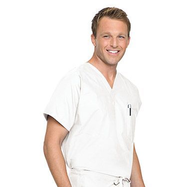 Landau Scrubs move with you all day long. The 7502 is a reversible, unisex V-neck top with reinforced neck facing, dolman sleeves, and a breast pocket on both sides. Made of polyester/cotton.      ...