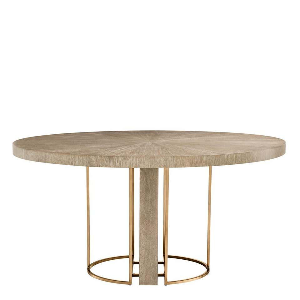 Oak Wooden And Brass Round Dining Table Dining Table Dining Table Accessories Scandinavian Dining Table
