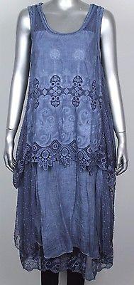 371d1a6dd7e006 New Ladies Sleeveless Long Layered Lagenlook Crochet & Lace Panels 3 Piece  Dress