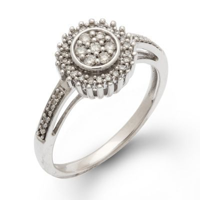 1/4+CT.+T.W.+Diamond+Sunburst+Cluster+Ring+in+Sterling+Silver+-+Size+7