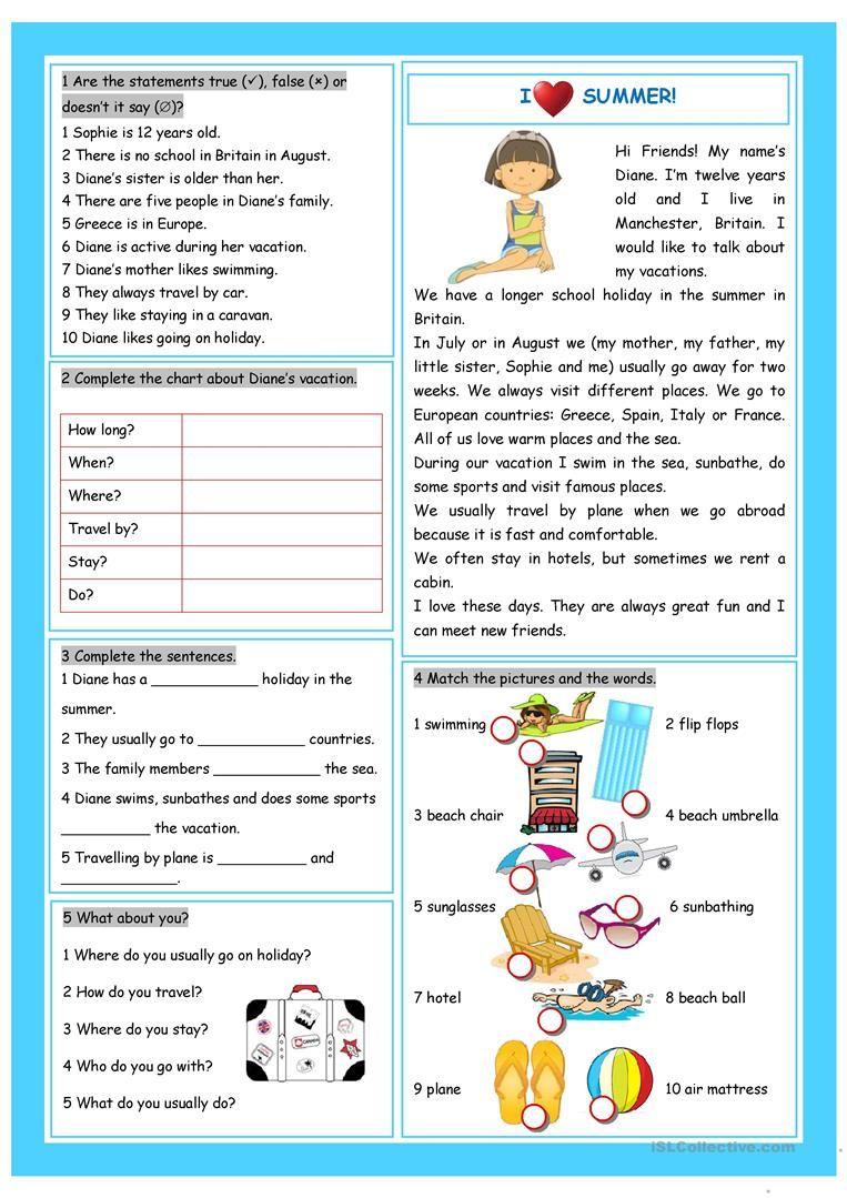 Vacation I Love Summer Worksheet Free Esl Printable Worksheets Made By Teachers Reading Comprehension English Reading Summer Worksheets [ 1079 x 763 Pixel ]