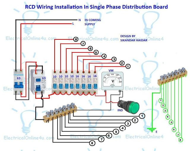 A plete diagram of single phase distribution board with double pole mcb wiring, rcd wiring