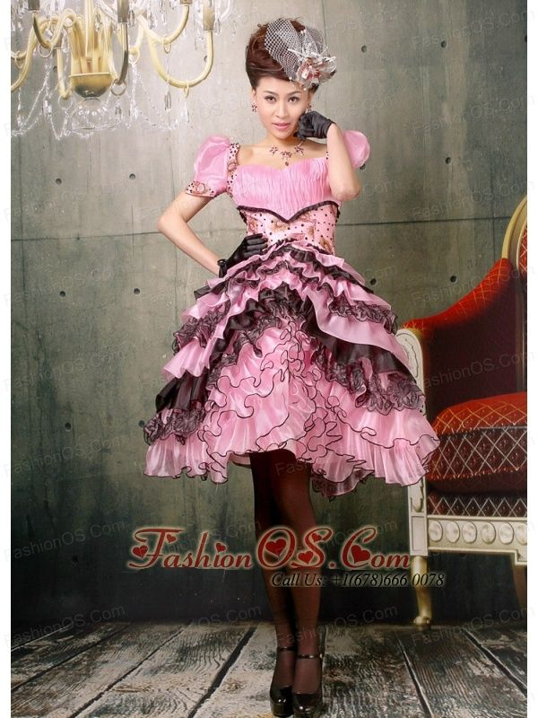 Ruffled Layers Square Knee Length For Baby Pink And Black Prom Dress