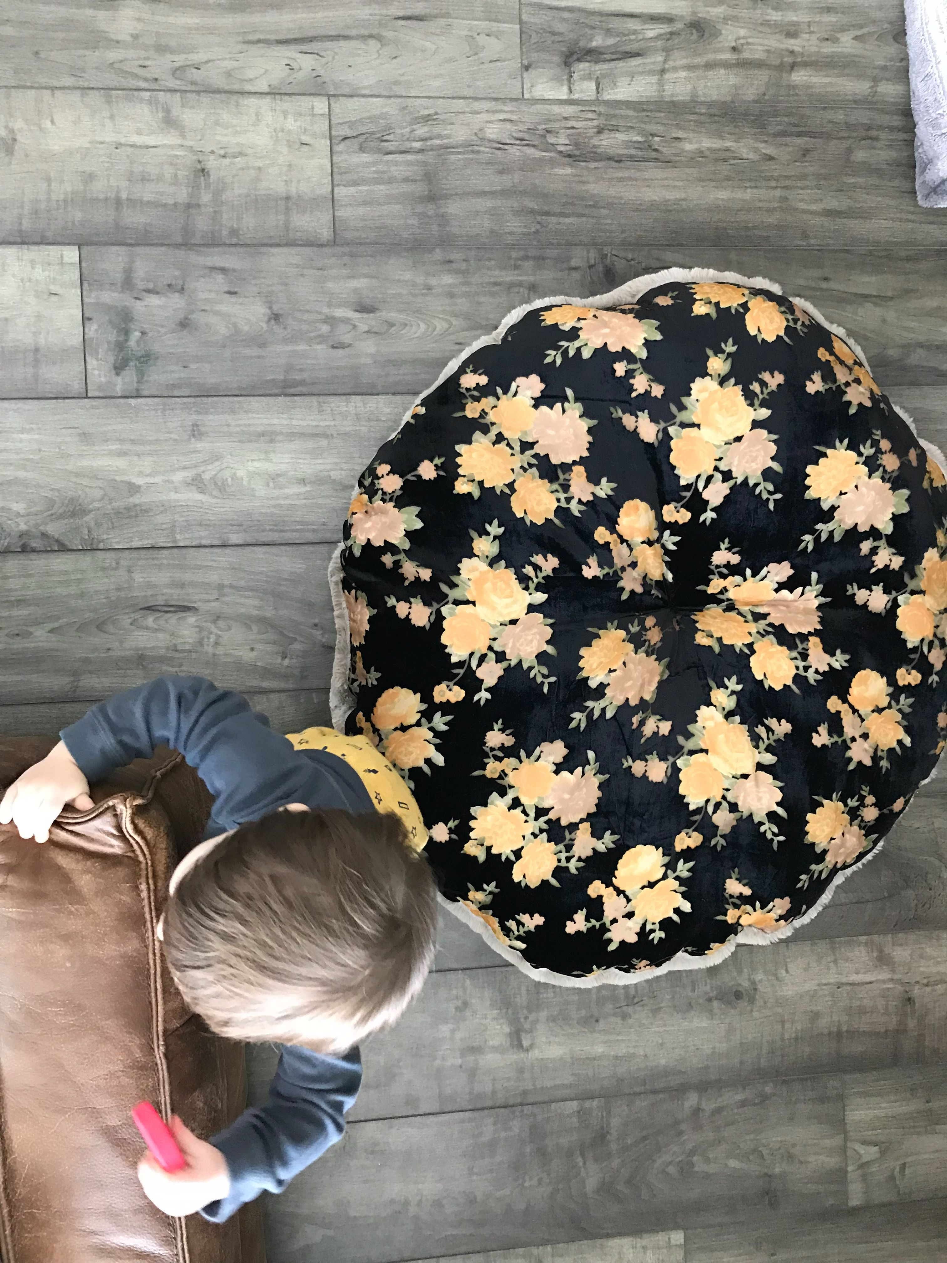 Black Velvet Floral Floor Cushion is the perfect gift for