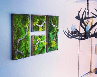 Items Similar To Plant Painting  Natural Grey Stone  No Care Green Wall Art.