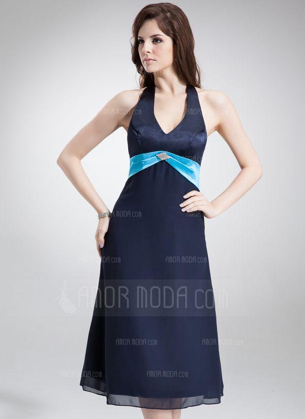 Corte A/Princesa Cabestro Té de longitud Gasa Satén Dama de honor con Fajas Bordado (007000996)