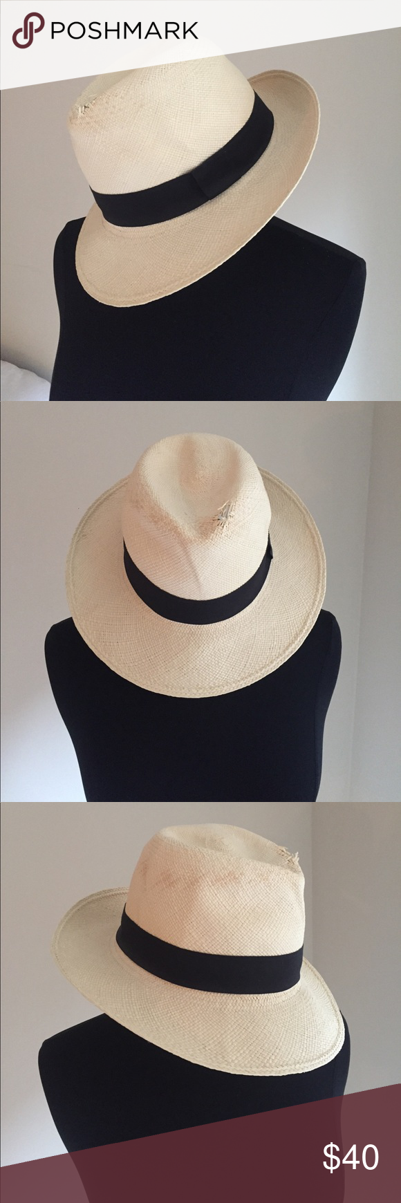 8b978d73a029c Authentic Panama Hat by J Crew Authentic Panama Hat (see fourth photo).  Worn once. Natural cream color. Black fabric stripe. Gorgeous weave