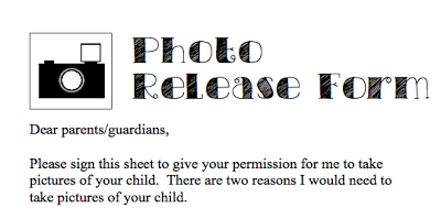 Back To School Forms Photo Release Form  Classroom Organization